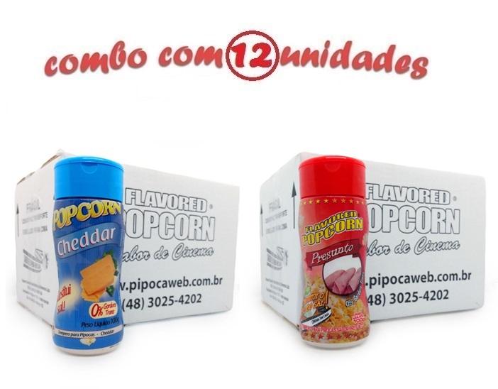 TEMPEROS P/ PIPOCA - Cx 12 FRASCOS - 6 CHEDDAR - 6 PRESUNTO