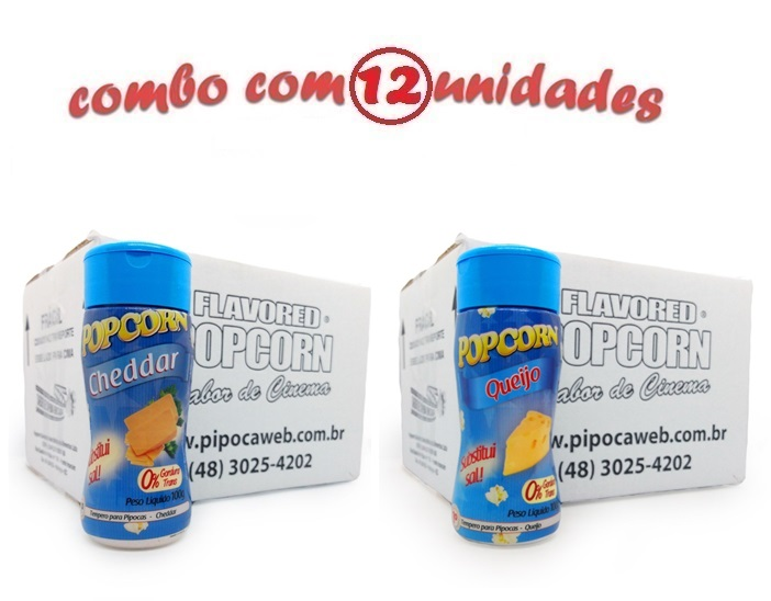 TEMPEROS P/ PIPOCA - Cx 12 FRASCOS - 6 CHEDDAR - 6 QUEIJO