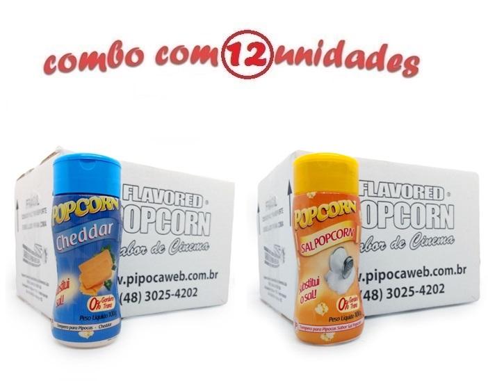TEMPEROS P/ PIPOCA - Cx 12 FRASCOS - 6 CHEDDAR - 6 SAL POPCORN