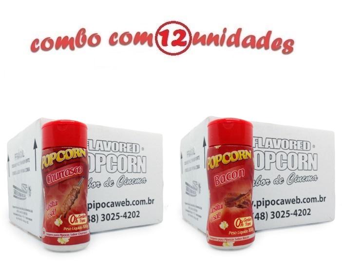 TEMPEROS P/ PIPOCA - CX 12 FRASCOS - 6 CHURRASCO - 6 BACON