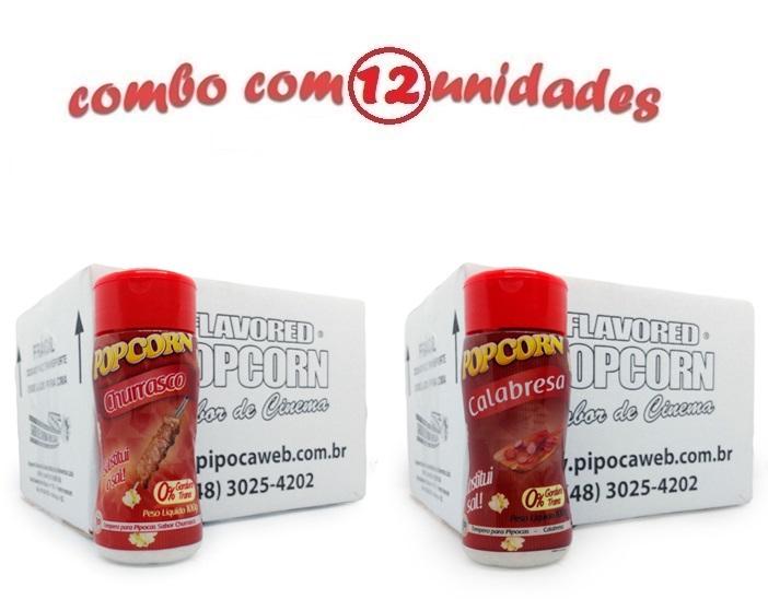 TEMPEROS P/ PIPOCA - CX 12 FRASCOS - 6 CHURRASCO - 6 CALABRESA