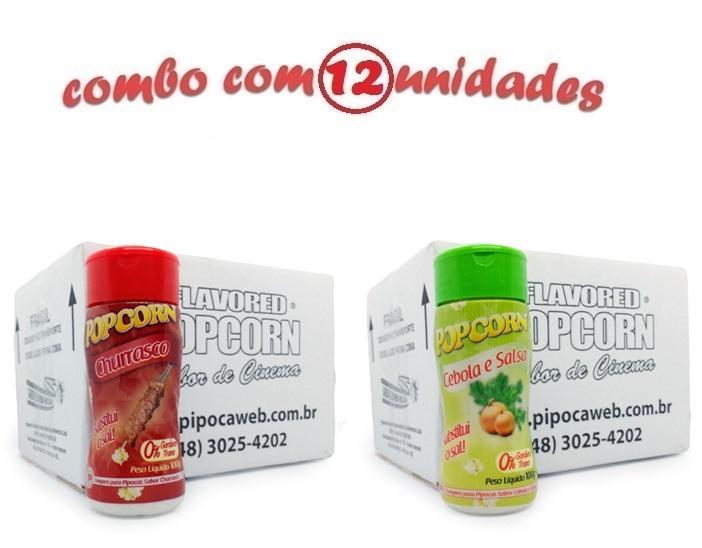 TEMPEROS P/ PIPOCA - CX 12 FRASCOS - 6 CHURRASCO - 6 CEBOLA E SALSA