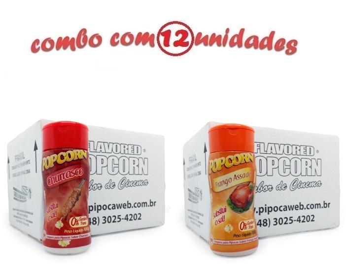 TEMPEROS P/ PIPOCA - CX 12 FRASCOS - 6 CHURRASCO - 6 FRANGO ASSADO