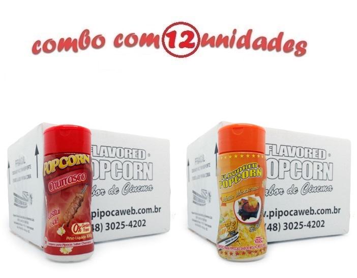 TEMPEROS P/ PIPOCA - CX 12 FRASCOS - 6 CHURRASCO - 6 MOLHO MEXICANO