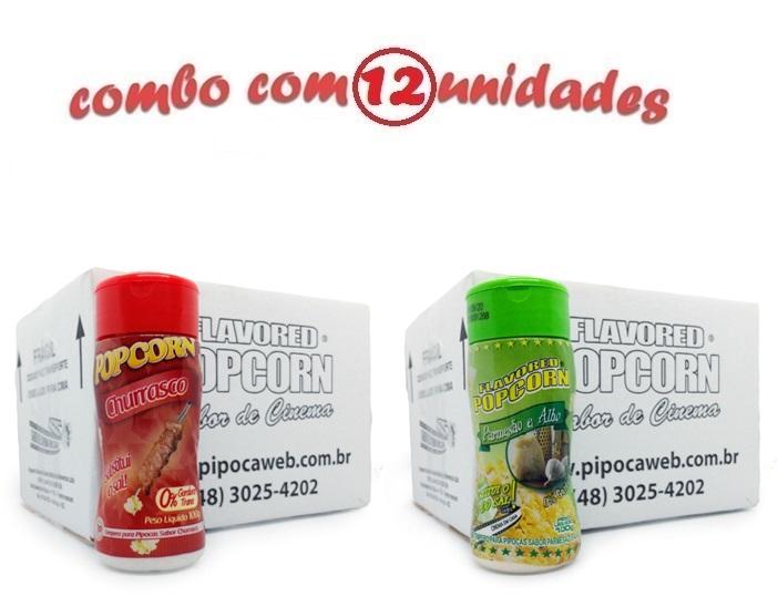 TEMPEROS P/ PIPOCA - CX 12 FRASCOS - 6 CHURRASCO - 6 PARMESÃO E ALHO