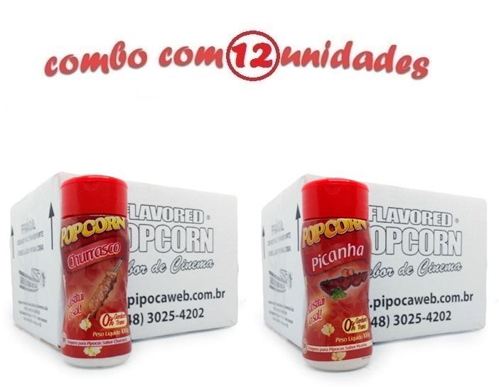 TEMPEROS P/ PIPOCA - CX 12 FRASCOS - 6 CHURRASCO - 6 PICANHA