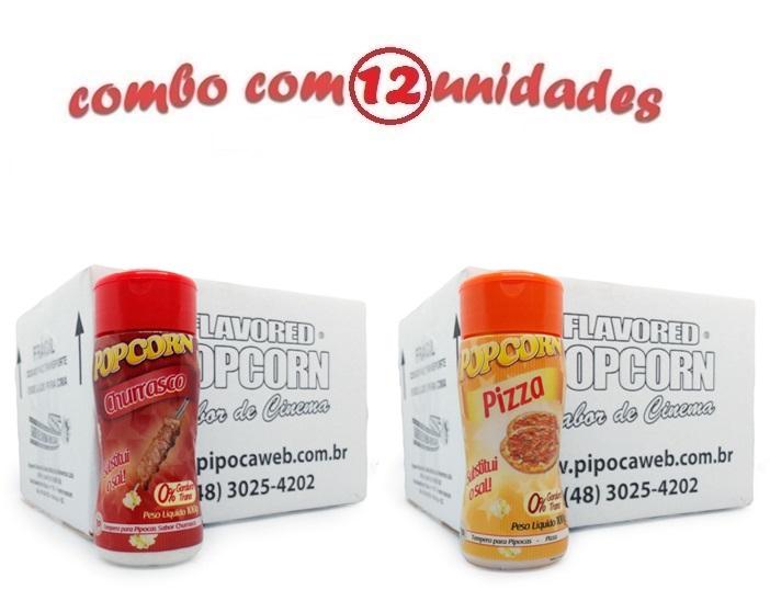 TEMPEROS P/ PIPOCA - CX 12 FRASCOS - 6 CHURRASCO - 6 PIZZA