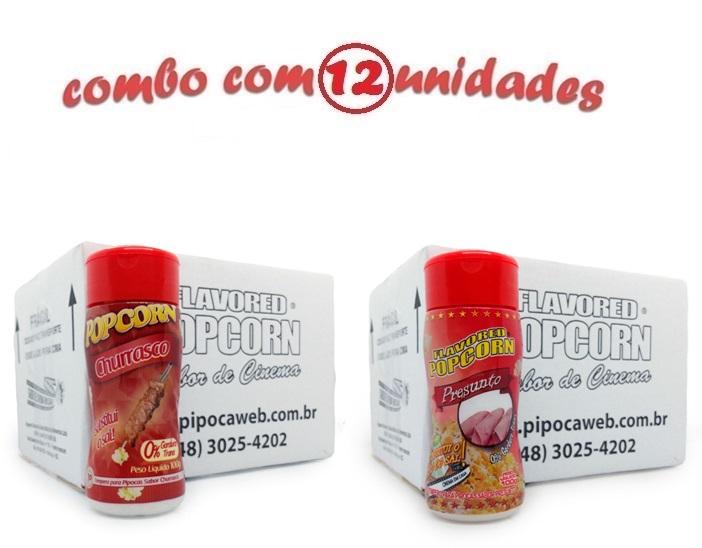 TEMPEROS P/ PIPOCA - CX 12 FRASCOS - 6 CHURRASCO - 6 PRESUNTO