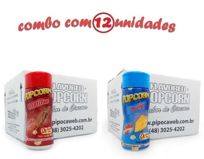TEMPEROS P/ PIPOCA - CX 12 FRASCOS - 6 CHURRASCO - 6 QUEIJO