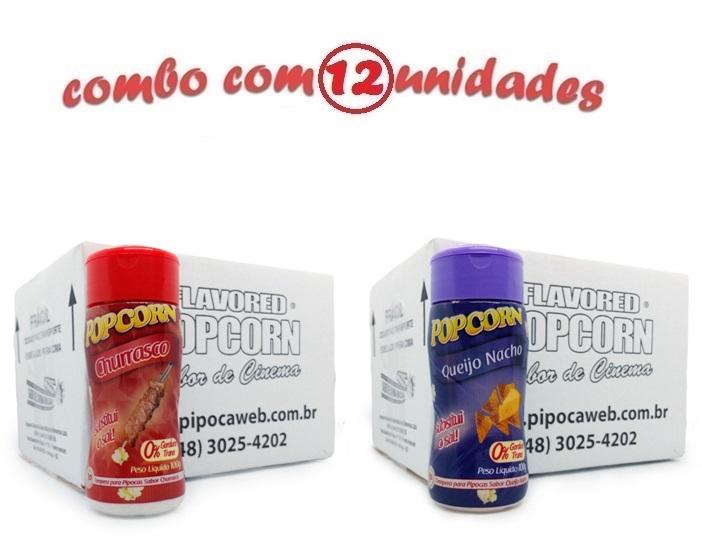 TEMPEROS P/ PIPOCA - CX 12 FRASCOS - 6 CHURRASCO - 6 QUEIJO NACHO