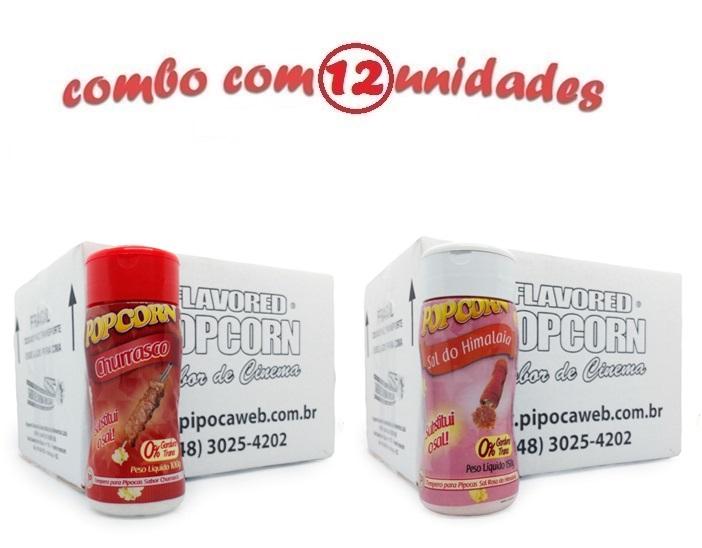 TEMPEROS P/ PIPOCA - CX 12 FRASCOS - 6 CHURRASCO - 6 SAL DO HIMALAIA
