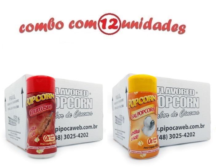 TEMPEROS P/ PIPOCA - CX 12 FRASCOS - 6 CHURRASCO - 6 SAL POPCORN