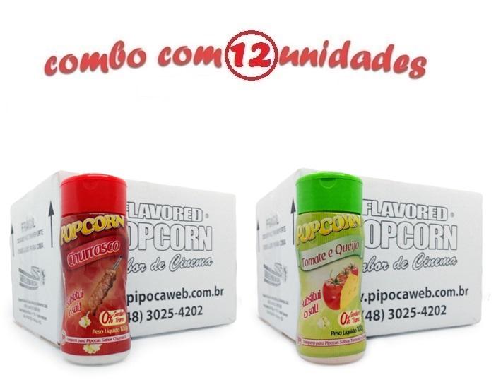 TEMPEROS P/ PIPOCA - CX 12 FRASCOS - 6 CHURRASCO - 6 TOMATE E QUEIJO