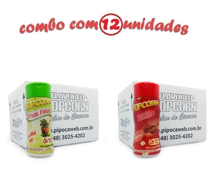 TEMPEROS P/ PIPOCA - Cx 12 FRASCOS - 6 ERVAS FINAS -  6 BACON
