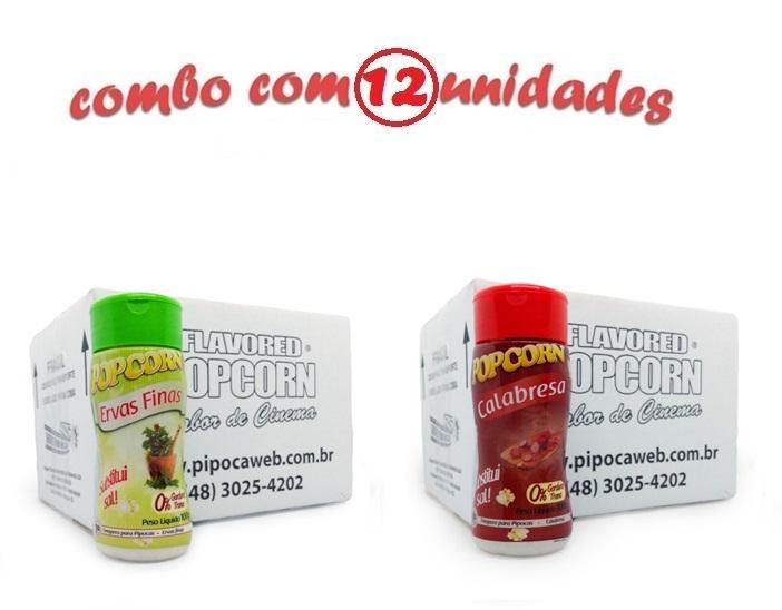 TEMPEROS P/ PIPOCA - Cx 12 FRASCOS - 6 ERVAS FINAS -  6 CALABRESA