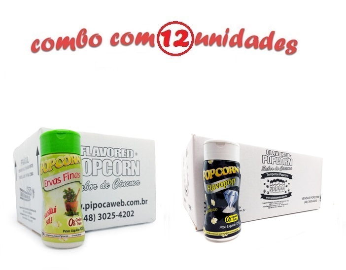 TEMPEROS P/ PIPOCA - Cx 12 FRASCOS - 06 ERVAS FINAS - 06 FLAVAPOP MANTEIGA