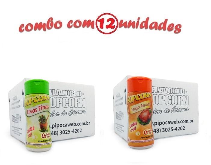 TEMPEROS P/ PIPOCA - Cx 12 FRASCOS - 6 ERVAS FINAS -  6 FRANGO ASSADO