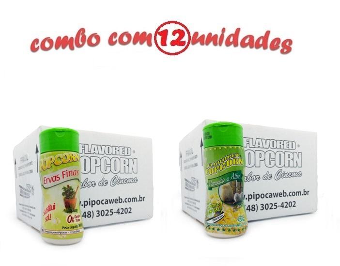 TEMPEROS P/ PIPOCA - Cx 12 FRASCOS - 6 ERVAS FINAS -  6 PARMESÃO E ALHO