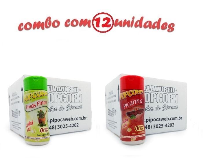 TEMPEROS P/ PIPOCA - Cx 12 FRASCOS - 6 ERVAS FINAS -  6 PICANHA