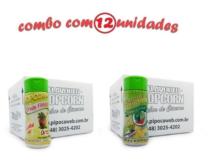 TEMPEROS P/ PIPOCA - Cx 12 FRASCOS - 6 ERVAS FINAS -  6 PIMENTA E LIMÃO
