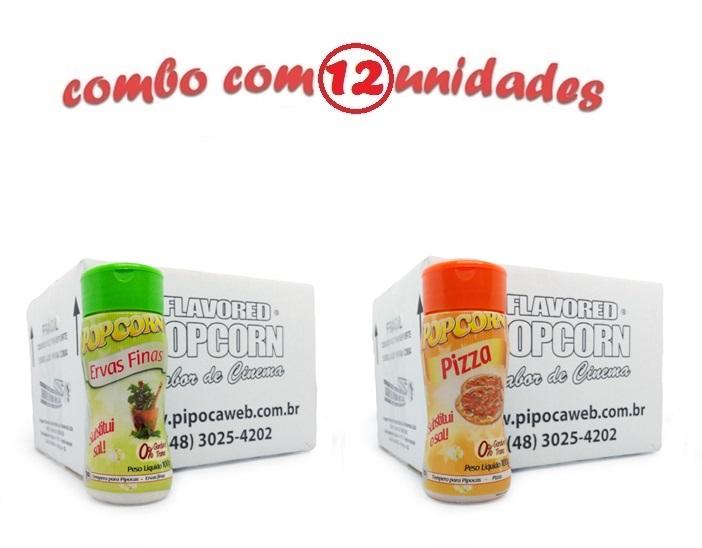 TEMPEROS P/ PIPOCA - Cx 12 FRASCOS - 6 ERVAS FINAS -  6 PIZZA