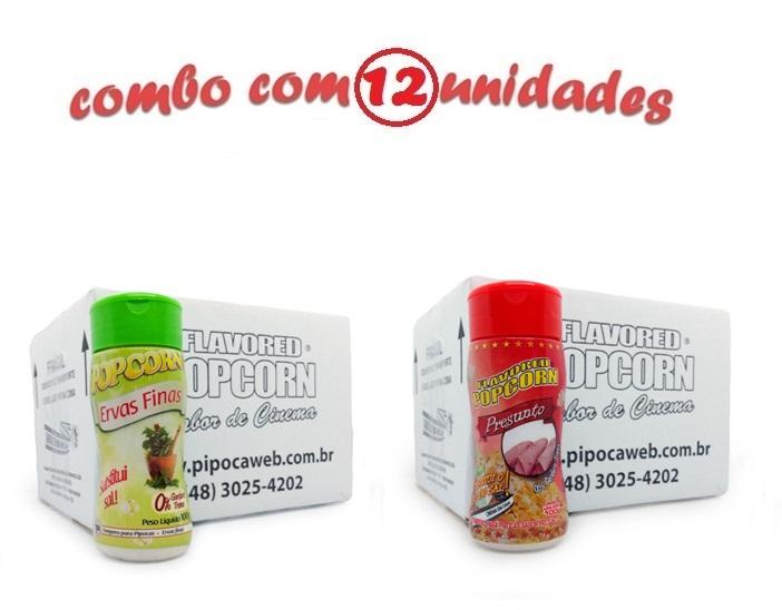 TEMPEROS P/ PIPOCA - Cx 12 FRASCOS - 6 ERVAS FINAS -  6 PRESUNTO