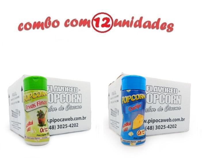 TEMPEROS P/ PIPOCA - Cx 12 FRASCOS - 6 ERVAS FINAS -  6 QUEIJO