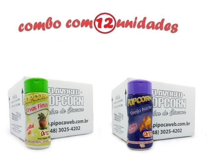 TEMPEROS P/ PIPOCA - Cx 12 FRASCOS - 6 ERVAS FINAS -  6 QUEIJO NACHO