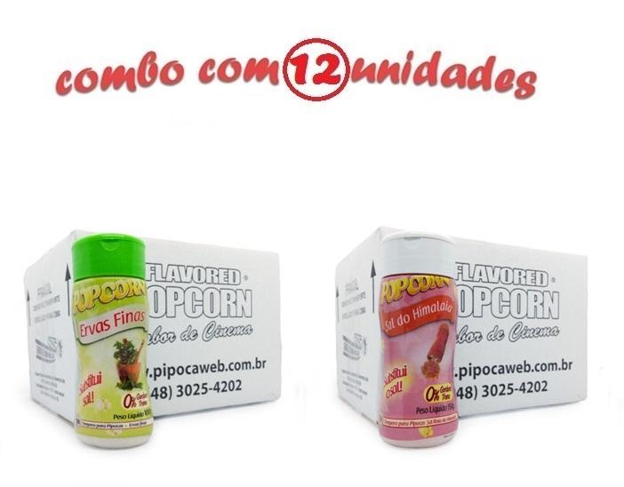 TEMPEROS P/ PIPOCA - Cx 12 FRASCOS - 6 ERVAS FINAS -  6 SAL DO HIMALAIA