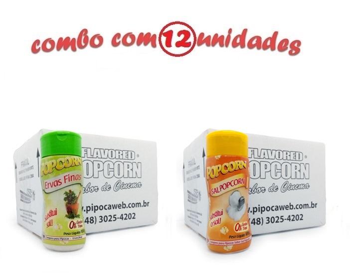 TEMPEROS P/ PIPOCA - Cx 12 FRASCOS - 6 ERVAS FINAS - 6 SAL POPCORN