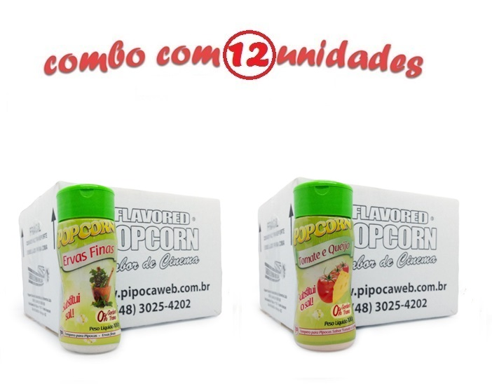 TEMPEROS P/ PIPOCA - Cx 12 FRASCOS - 6 ERVAS FINAS -  6 TOMATE E QUEIJO