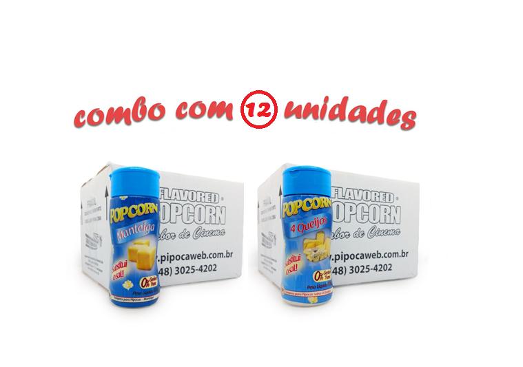 TEMPEROS P/ PIPOCA - Cx 12 FRASCOS - 6 MANTEIGA - 6  4 QUEIJOS