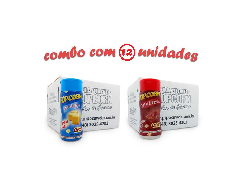 TEMPEROS P/ PIPOCA - Cx 12 FRASCOS - 6 MANTEIGA - 6 CALABRESA