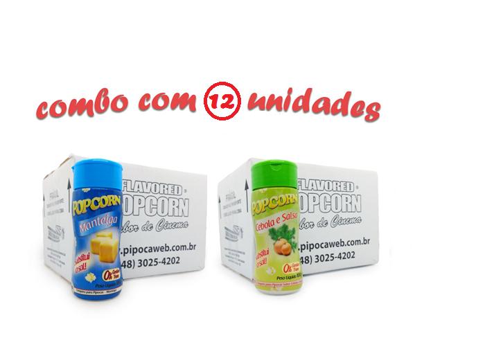 TEMPEROS P/ PIPOCA - Cx 12 FRASCOS - 6 MANTEIGA - 6 CEBOLA E SALSA
