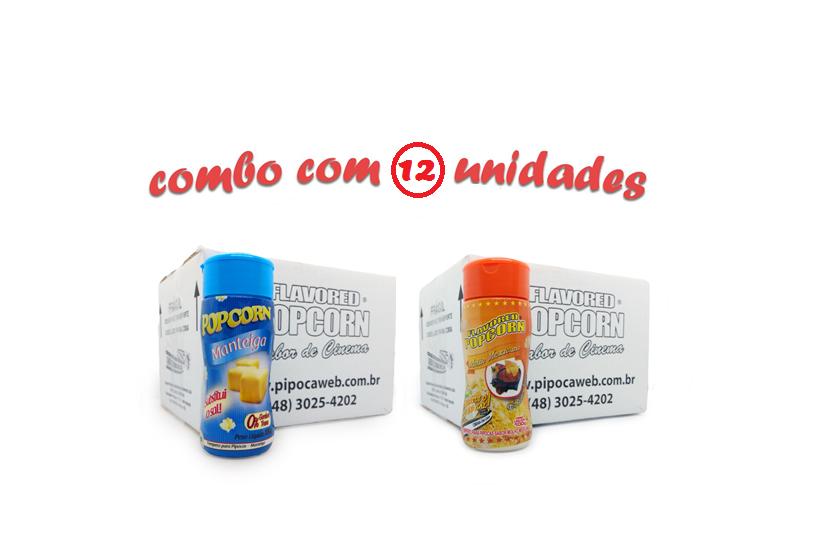TEMPEROS P/ PIPOCA - Cx 12 FRASCOS - 6 MANTEIGA - 6  MOLHO MEXICANO