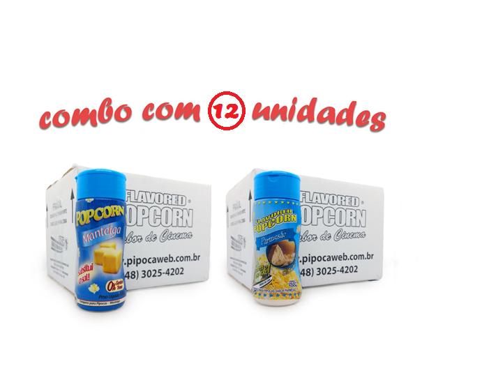 TEMPEROS P/ PIPOCA - Cx 12 FRASCOS - 6 MANTEIGA - 6  PARMESÃO