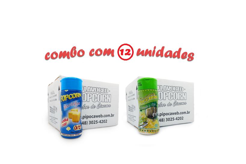 TEMPEROS P/ PIPOCA - Cx 12 FRASCOS - 6 MANTEIGA - 6  PARMESÃO E ALHO