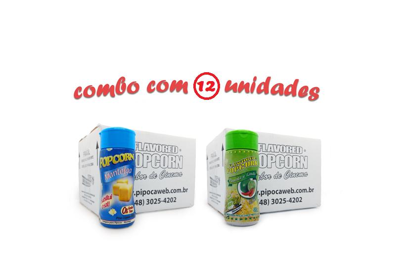TEMPEROS P/ PIPOCA - Cx 12 FRASCOS - 6 MANTEIGA - 6 PIMENTA E LIMÃO
