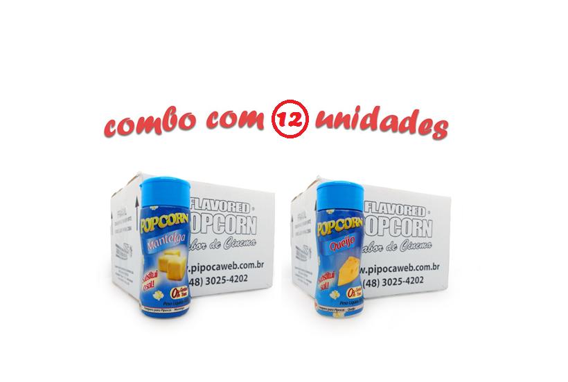 TEMPEROS P/ PIPOCA - Cx 12 FRASCOS - 6 MANTEIGA - 6 QUEIJO