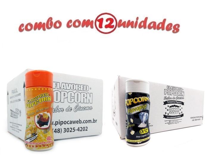 TEMPEROS P/ PIPOCA - Cx 12 FRASCOS - 6 MOLHO MEXICANO -  6 FLAVAPOP MANTEIGA