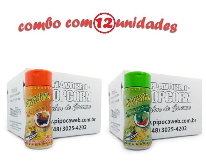 TEMPEROS P/ PIPOCA - Cx 12 FRASCOS - 6 MOLHO MEXICANO -  6 PIMENTA E LIMÃO
