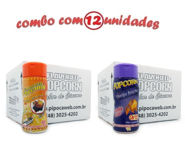 TEMPEROS P/ PIPOCA - Cx 12 FRASCOS - 6 MOLHO MEXICANO -  6 QUEIJO NACHO