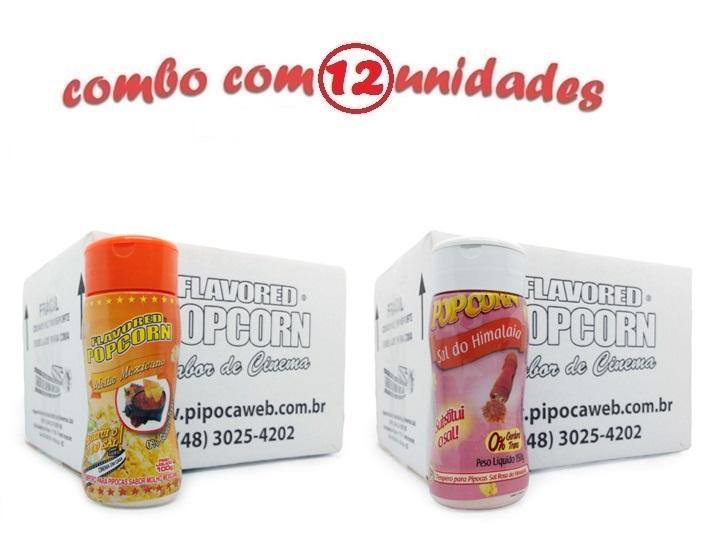 TEMPEROS P/ PIPOCA - Cx 12 FRASCOS - 6 MOLHO MEXICANO -  6 SAL DO HIMALAIA