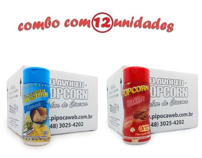 TEMPEROS P/ PIPOCA - Cx 12 FRASCOS - 6 PARMESÃO - 6 BACON