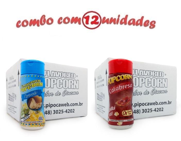 TEMPEROS P/ PIPOCA - Cx 12 FRASCOS - 6 PARMESÃO - 6 CALABRESA