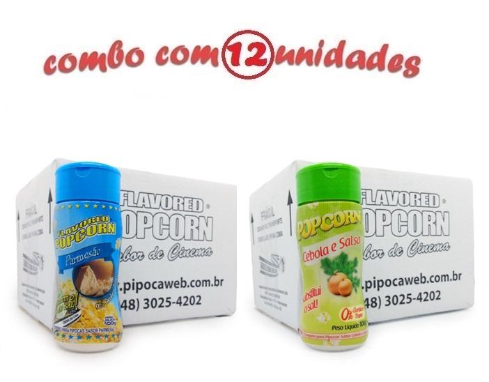 TEMPEROS P/ PIPOCA - Cx 12 FRASCOS - 6 PARMESÃO - 6 CEBOLA E SALSA
