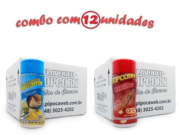 TEMPEROS P/ PIPOCA - Cx 12 FRASCOS - 6 PARMESÃO - 6 CHURRASCO