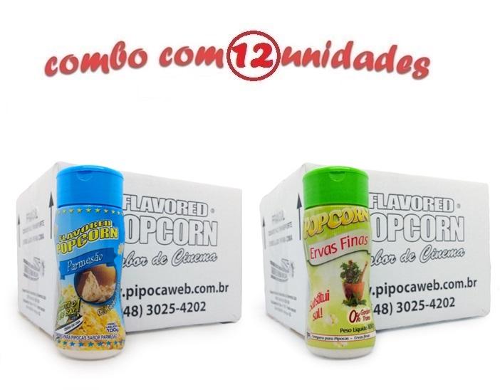 TEMPEROS P/ PIPOCA - Cx 12 FRASCOS - 6 PARMESÃO - 6 ERVAS FINAS