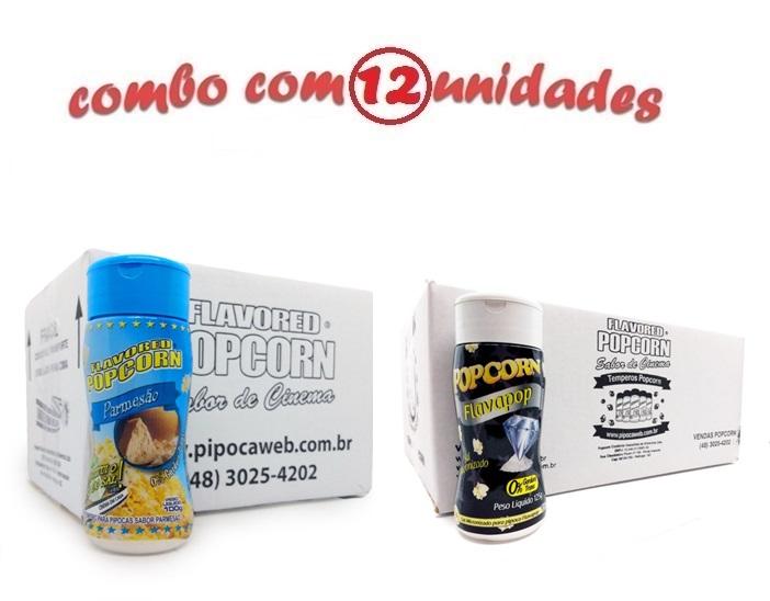 TEMPEROS P/ PIPOCA - Cx 12 FRASCOS - 6 PARMESÃO - 6 FLAVAPOP MANTEIGA