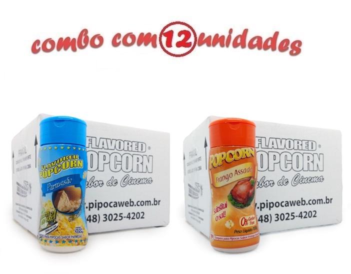 TEMPEROS P/ PIPOCA - Cx 12 FRASCOS - 6 PARMESÃO - 6 FRANGO ASSADO